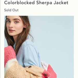 Anthropologie Sherpa Color block Jacket